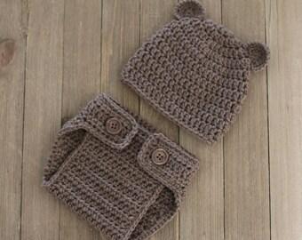 Newborn Bear Diaper Cover and Hat Set, Photography Prop, Newborn Diaper Cover, Newborn Bear Hat, Baby Boy Gift, Baby Gift Set, Baby Beanie