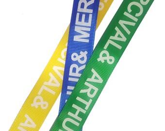 Gross grain Printed Colorful Ribbons Trims, Yellow, Blue, Green Gross grain Trim