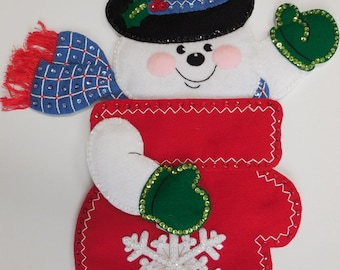 Finished Christmas Stocking - Snowman Mittens