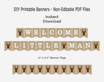 Welcome Little Man Banner - Burlap, Brown & White - Deer Head - Antler - Hunting - Boy Baby Shower - PRINTABLE - INSTANT DOWNLOAD