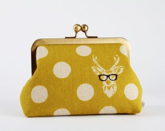 Retro frame purse - Buck on yellow - Trip purse / Japanese fabric / Echino / Black glasses / Deer / White dots