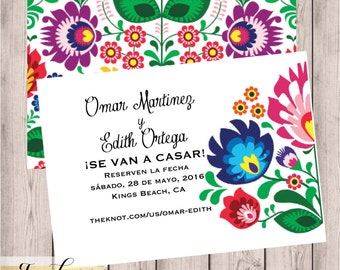 Mexican Wedding Invitation Set Colorful Latin Embroidery