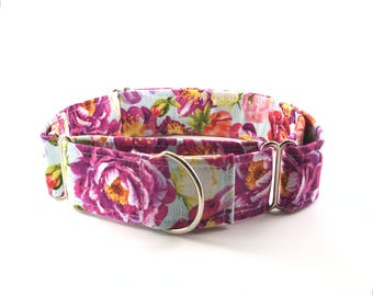 Pink and Purple Floral Dog Collar - Buckle or Martingale