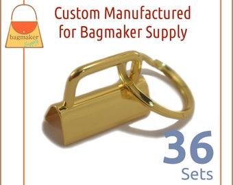 """1-1/4 Inch Deluxe Key Fob Hardware, Shiny Gold Finish, 36 Sets, 1.25"""", Purse Handbag Hardware, Jewelry Supply, KRA-AA006"""
