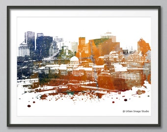 Montreal Skyline Print, Montreal Skyline, Quebec, Cityscape, Art Print, Poster, Modern Art, Painting, Giclee Prints, Wall Art, Watercolor,