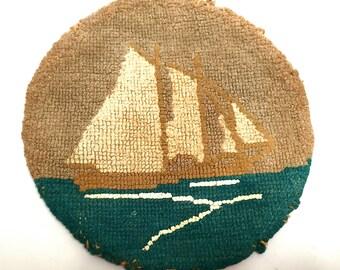Grenfell Labrador Industries Silk Stocking Hooked Mat, Antique,Sailing Ship Weaving,Newfoundland, Canadian Folk Art, Maritime Folk Art