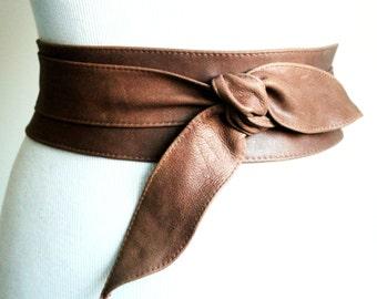 Distressed Brown Obi Belt | Brown Sash Belt | Country wedding | Bride Sash | Rustic Wedding Sash | Bridesmaid Belt | Bridal Sash | Plus Size