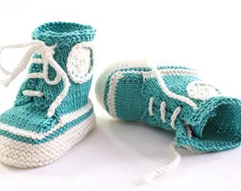 KNITTING PATTERN, PDF, Knit Sneaker Booties Pattern,Trainer Booties, Baby Lace Up Booties, Baby Converse Booties Pattern,