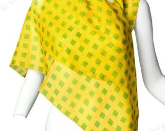 NWT Vintage 1970s Italian Silk Chiffon Sheer Scarf - Yellow and Green - Geo Print Silk Scarf