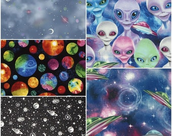 Outer Space, Aliens, UFOs, Moons, & Planets Cotton Fabric by Timeless Treasures! [Choose Your Cut Size]