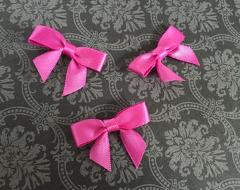 48 Mini FUCHSIA PINK Satin Bows - Pre-made ready for crafting