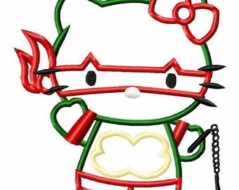 Hello Ninja Kitty Applique Embroidery Design - Instant Download