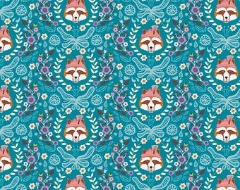 Riley Blake Fox Vienna Main Teal/Cotton/Fabrics/Sewing/Quilting/Quilt
