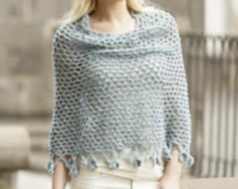 Crochet handmade poncho sweater / cape / wrap with flower edge, in soft alpaca/wool blend, sizes XS-S-M-L-XL-XXL