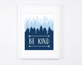Be Kind Art Printable, Arrows Printable Art, Navy Nursery Art 8x10, Rustic Nursery Wall Art, Nursery Decor, Navy Blue Art, Boys Room Art