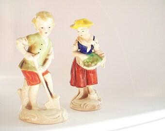 2 Vintage German Porcelain Figurines Pair of Children Figurines Marked