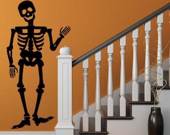 Halloween Decor Skeleton Bones Vinyl Wall Decal Skeleton Halloween Party Decor Friendly Skeleton