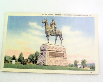 Meade Memorial, Gettysberg, PA  Major General George S. Meade - LINEN - (linen era 1930 - 1944) Free Shipping