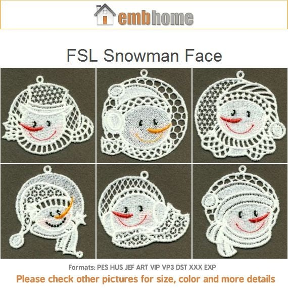 Stand Alone Lace Embroidery Designs : Fsl snowman face free standing lace machine embroidery