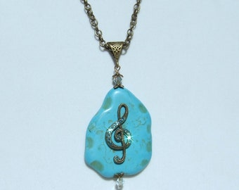 G CLEF NECKLACE, Treble Clef Necklace, Swarovski Crystals, Turquoise Stone, Music Necklace, Music Student Music Teacher Gift, Music Gift