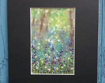 Textile Artwork - Bluebell Dreaming - Small Hand Painted and Stitched Mounted Artwork (6 inches by 4 inches)