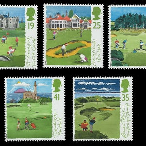 Scottish Golf Courses set of five mint stamps issued by Royal Mail in 1994. Ideal for golfers,stamp collectors or for craft work.