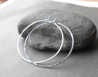 Sterling Silver Hoop Earrings, Medium Thin Hammered Silver Hoops, minimal earrings