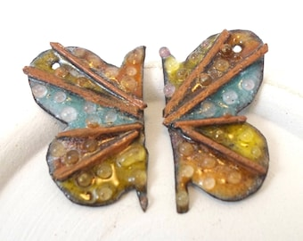 Enameled butterfly Wings, Handmade Pendant Charms,Unique Earring Components, Copper Charm Pairs, Wings with Glass Dots,OOAK Artisan Supplies