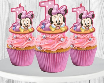 Baby Minnie Mouse Cupcake Toppers, Cupcake Picks
