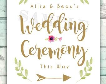 Wedding Sign, Wedding Ceremony Sign with Arrow, Ceremony this Way 11x14 Sign Chalkboard Wedding Sign, Reception Sign, 11x14 Wedding Sign