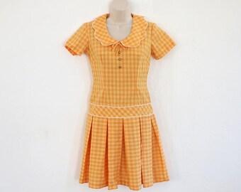 Vintage Tangerine Drop Waist Cotton Dress (Small)