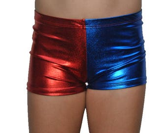 Youth Red and Blue Metallic Spandex Shorts, Kids Halloween Costume