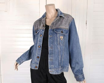 80s Jean Jacket in Blue & Gray Denim- 1980s Vintage Punk Grunge New Wave Rock n Roll Club Work - Small