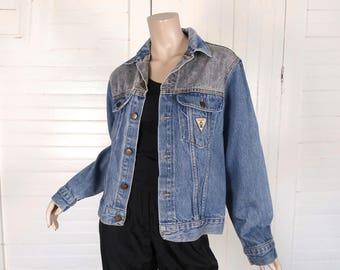 80 s veste en Jean en gris et Bleu Denim des années 1980 Vintage Grunge Punk New Wave Rock ' n Roll Club travail - petit