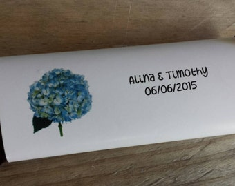 Blue Hydrangea or Pink Hydrangea Wedding Candy Bar Wrappers Bridal Shower Rehearsal Dinner Favors Candy Wrappers