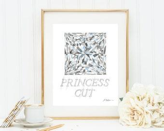 Princess Cut Diamond Watercolor Rendering printed on Paper