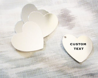 "Custom Silver Heart - 31mm (1-1/4"") - Hand Stamped Heart Jewelry Tag - BULK PRICING AVAILABLE"