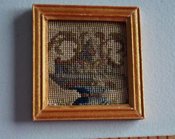 Dollhouse Miniature Framed Micro Petit Point-Neoclassical