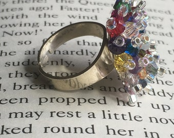 Beautiful handmade Swarovski crystal adjustable cluster ring - multi coloured