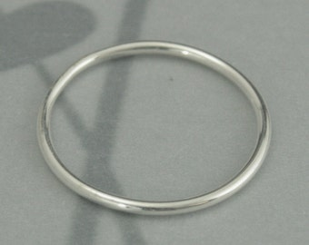 Silver Roll Me Round--Sterling Silver Stacking Ring--Sterling Silver Round Spacer Band--Thin Stack Ring--Custom made in YOUR size