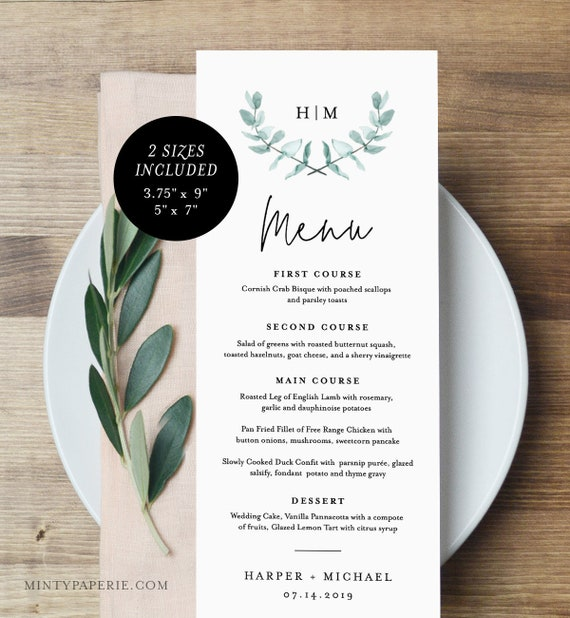 Wedding Menu Template, INSTANT DOWNLOAD, 100% Editable, Printable Dinner Menu Card, Wedding Greenery Monogram, Templett, DIY #049-126WM