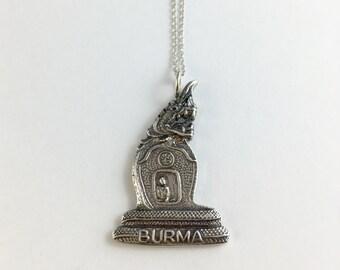 Burma Necklace, Burma Souvenir, Myanmar Necklace, Myanmar Charm, Myanmar Jewelry, Myanmar Gift, Spoon Jewelry, Myanmar Gift, Myanmar Woman