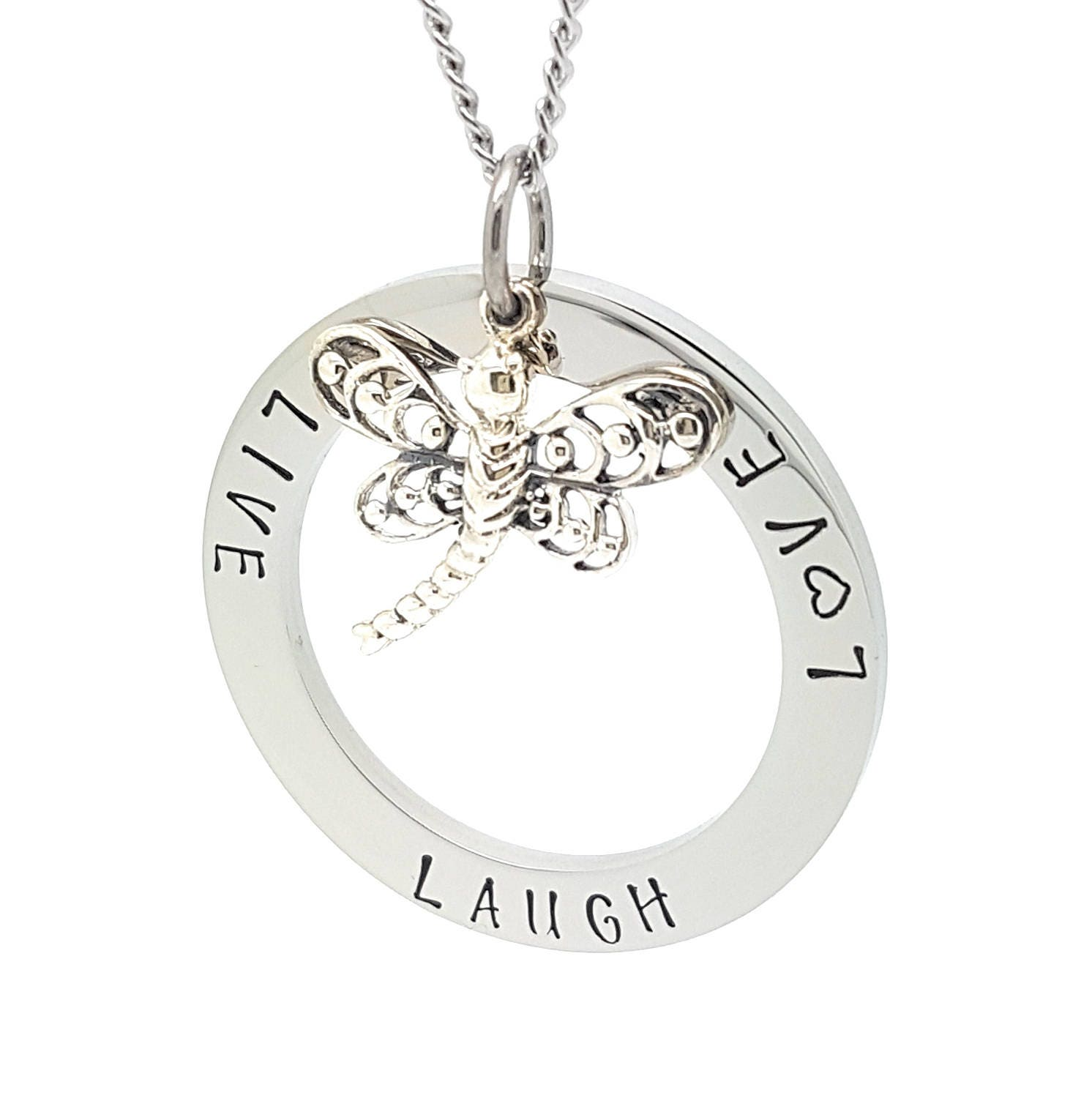 Personalised jewellery personalised necklace family necklace hand personalised jewellery personalised necklace family necklace hand stamped circle silver pendant with sterling dragonfly necklace aloadofball Choice Image