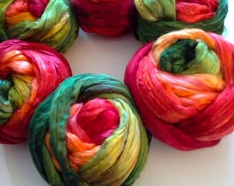 Hand Dyed Mulberry gradient silk roving 2oz Pohutakawa