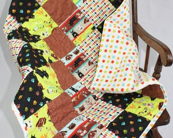Patchwork Baby Quilt, Flannel Backed Baby Quilt, Infant Quilt, Crib Quilt, Stroller Quilt, Green and Brown Puppy Print Quilt, Baby Shower