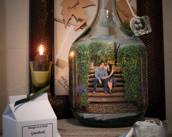 Personalized Guestbook Alternative With Your Photo and Hand Painted Scenery, Messages In A Bottle Guestbook, Well Wishes Bottle for Shower