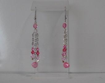 SALE--Pretty in Pink Chain Earrings