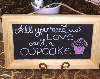 Wedding Sign Love and a Cupcake