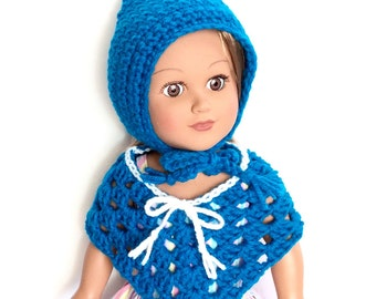 18 Inch Doll Teal Poncho and Pixie Hat, Crocheted Poncho Teal with Sparkly White Trim, Winter Doll Clothes