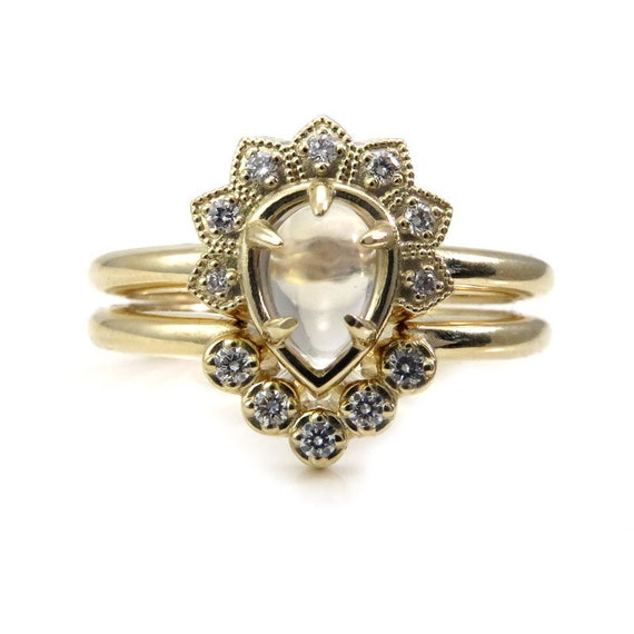 Moonstone and Diamond Tiny Asteroid Engagement Ring Set - 14k Gold - Boho Fine Jewelry